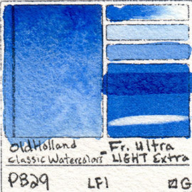 PB29 Old Holland Classic Watercolors French Ultramarine Light Extra pigment swatch rare mineral paint art professional