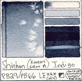 PB29 PB66 Shinhan Korean Color A Indigo Watercolor Swatch Card Color Chart