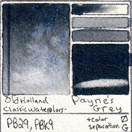 PB29 PBk9 Old Holland Classic Watercolor Payne's Grey pigment swatch database card color separation swatch