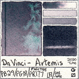PB29 PG18 PR177 Da Vinci Artemis Moonglow Dupe Look-A-Like Watercolor