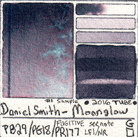 PB29 PG18 PR177 Daniel Smith Moonglow Watercolor Lightfast Fugitive Pigment Database