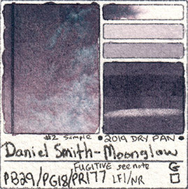 PB29 PG18 PR177 Daniel Smith Moonglow Watercolor PAN versus Tube masstone