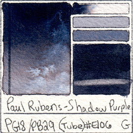 PB29 PG18 Paul Rubens Tube Watercolor Royal Purple Swatch Card Color Chart