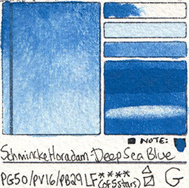 PG50 PV16 PB29 Schmincke Professional Watercolor Deep Sea Blue Granulating Special Edition