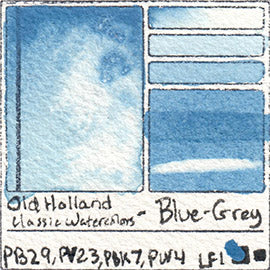 PB29 PV23 PBk7 PW4 Old Holland Classic Watercolors Blue Grey pigment swatch rare mineral paint art professional
