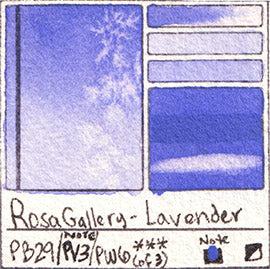 PB29 PV3 PW6 Rosa Gallery Lavender Watercolor Paint Pigment Database Handprint Color Chart