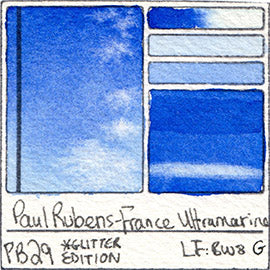 PB29 Paul Rubens Hint of Glitter Pan Set Watercolor France Ultramarine Swatch Card Color Chart