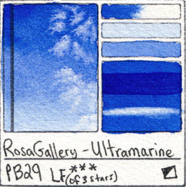 PB29 Rosa Gallery Watercolor Blue Ultramarine Blue Pigment Database Color Chart Swatch Card