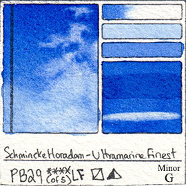 PB29 Schmincke Horadam Ultramarine Finest Watercolor Swatch Card Color Chart