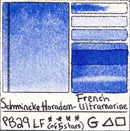 PB29 Schmincke Horadam Watercolor French Ultramarine Blue Granulating Art Pigment Database
