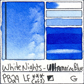PB29 Ultramarine Blue White Nights Watercolor Color Chart Swatch Card