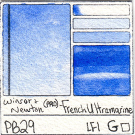 PB29 Winsor and Newton Professional French Ultramarine Watercolor Swatch Card Color Chart