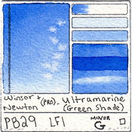 PB29 Winsor and Newton Professional Ultramarine Blue GS Watercolor Swatch Card Color Chart