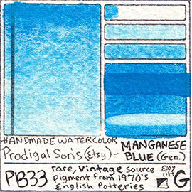 PB33 Prodigal Son's Manganese Blue Genuine vintage rare uncommon pigment database swatch card water color watercolor art color
