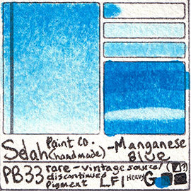 PB33 Selah Paint Company Manganese Blue rare uncommon pigment database swatch card water color watercolor art color