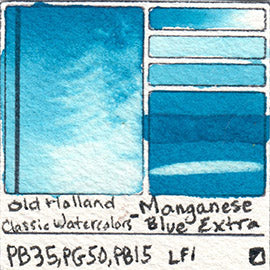 PB35 PG50 PB15 Old Holland Classic Watercolors Manganese Blue Extra pigment swatch rare mineral paint art professional