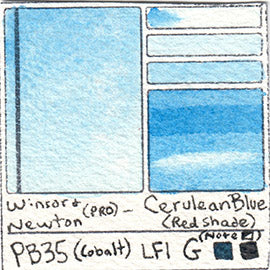 PB35 Winsor and Newton Professional Cerulean Blue RSF Watercolor Swatch Card Color Chart