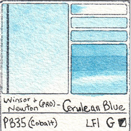 PB35 Winsor and Newton Professional Cerulean Blue Watercolor Swatch Card Color Chart