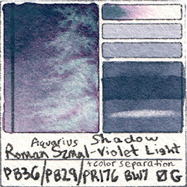 PB36 PB29 PR176 PV19 Roman Szmal Aquarius Watercolor Shadow Violet Light Color Swatch Granulating