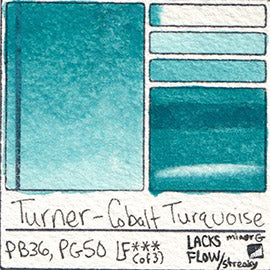 PB36 PG50 Turner Watercolor Cobalt Turquoise Color Pigment Database Swatch Card