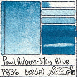 PB36 Paul Rubens Standard Pan set Sky Blue art swatch card color pigment database stain test masstone diluted