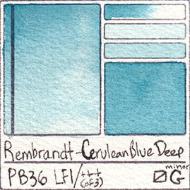PB36 Rembrandt Watercolor Cerulean Blue Deep Pigment Database Pigment Database Swatch Card Paint