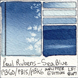 PB60 PB15 PBk6 Paul Rubens Hint of Glitter Pan Set Watercolor Sea Blue Swatch Card Color Chart