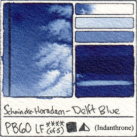PB60 Schmincke Horadam Delft Blue Indanthrene Indanthrone Watercolor Swatch Card Color Chart