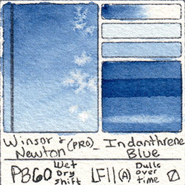 PB60 Winsor and Newton Watercolor Professional Indanthrene Blue Swatch Card Color Chart