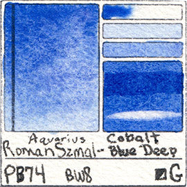 PB74 Roman Szmal Aquarius Watercolor Cobalt Blue Deep Color Swatch Granulating