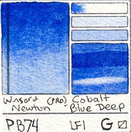 PB74 Winsor and Newton Watercolor Professional Cobalt Blue Deep Swatch Card Color Chart
