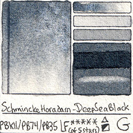 PBk11 PB74 PB35 Schmincke Professional Watercolor Deep Sea Black Granulating Special Edition