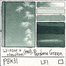 PBk31 Winsor and Newton Professional Perylene Green Watercolor Swatch Card Color Chart