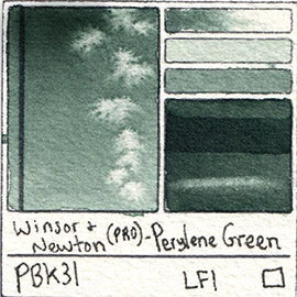 PBk31 Winsor and Newton Perylene Green pigment Professional Watercolor Paint Swatch