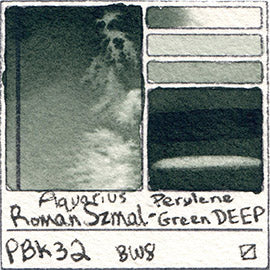 PBk32 Roman Szmal Aquarius Watercolor Perylene Green Deep Color Swatch Granulating