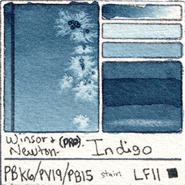 PBk6 PV19 PB15 Winsor and Newton Professional Indigo Watercolor Swatch Card Color Chart