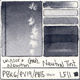 PBk6 PV19 PB15 Winsor and Newton Professional Neutral Tint Watercolor Swatch Card Color Chart