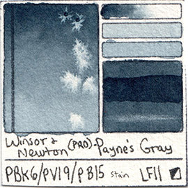 PBk6 PV19 PB15 Winsor and Newton Professional Payne's Gray Watercolor Swatch Card Color Chart