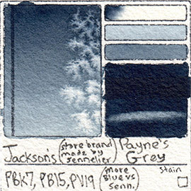 PBk7 PB15 PV19 Jackson's Store Brand Payne's Grey smooth pigment database sennelier art color swatch card