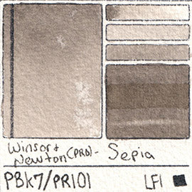 PBk7 PR101 Winsor and Newton Professional Sepia Watercolor Swatch Card Color Chart