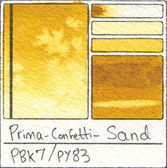 PY83 PBk7 Prima Art Philosophy Confetti Sand Watercolor Swatch Card Color Chart