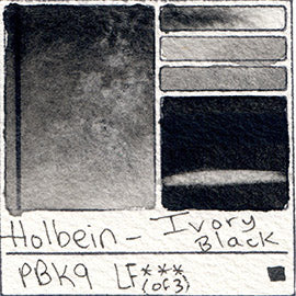 PBk9 Holbein Watercolor Ivory Black Color Granulating Art Pigment Database Swatch Card