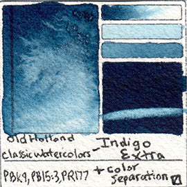 PBk9 PB15:3 PR177 Old Holland Classic Watercolor Indigo Extra pigment swatch database card color separation swatch