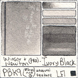 PBk9 Winsor and Newton Professional Ivory Black Watercolor Swatch Card Color Chart