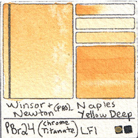 PBr24 Winsor and Newton Professional Naples Yellow Deep Watercolor Swatch Card Color Chart