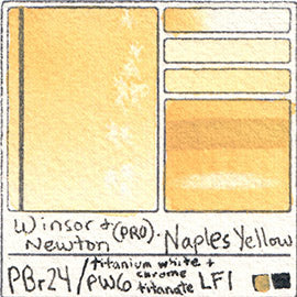PBr24 PW6 Winsor and Newton Professional Naples Yellow Watercolor Swatch Card Color Chart