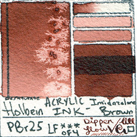 PBr25 Holbein Acrylic Ink Imidazolone Brown texture diluted masstone glazed dip pen writing swatch card