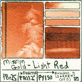 PBr25 PR112 PY150 Mission Gold Watercolor Light Red Art Pigment Database