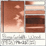 PBr25 Prima Art Philosophy Confetti Wood Watercolor Swatch Card Color Chart