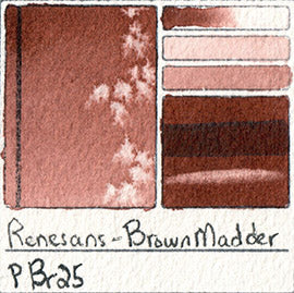 PBr25 Renesans Watercolor Brown Madder Intense Tube Extra Fine Half Pan Paint